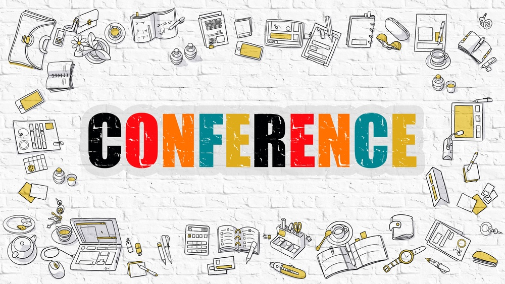 Conference Concept. Modern Line Style Illustration. Multicolor Conference Drawn on White Brick Wall. Doodle Icons. Doodle Design Style of Conference Concept.