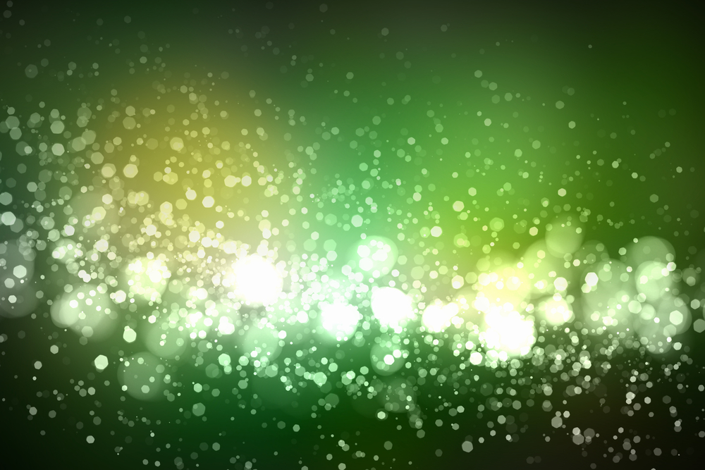 Green colour bokeh abstract light background. Illustration