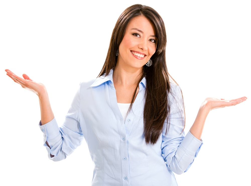 Indecisive business woman with arms open �¢?? isolated over white